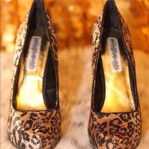 Naughty Monkey Sequin Leopard Print Platform Heels